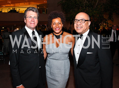 Jeff Hoone, Artist Carrie Mae Weems, Darren Walker. Photo by Tony Powell. FAPE Dinner. East Wing Art Gallery. May 19, 2011