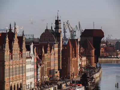 Havnefronten i den gamle bydel i Gdansk.
