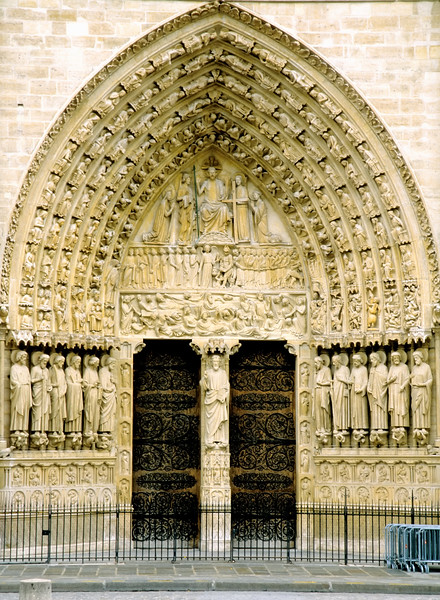 Details of the entrance to Notre Dame - Paris, France