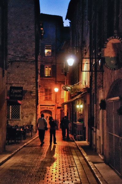 Street scene in old walled city of Vence