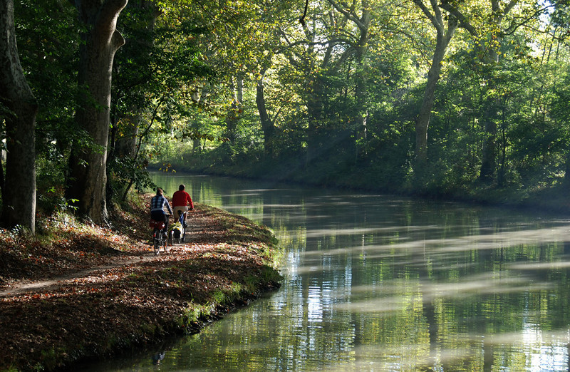 Bikers on Canal Du Midi