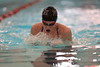 Findlay's Paige Black swims the breast stroke leg of the girls 200 yard medley relay against Fremont Ross.