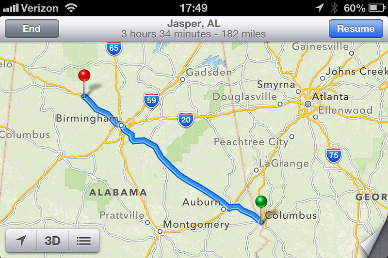 001 First Leg Columbus GA to Jasper AL.  I departed Columbus about 9p eastern time and arrived the hotel in Jasper about 11.30p central time.