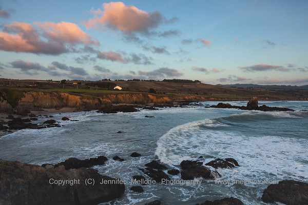 Sunlit Cliffs, Rocks, and Waves from Pigeon Point
