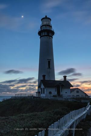 Cloudy Moon Sunset Pigeon Point Light