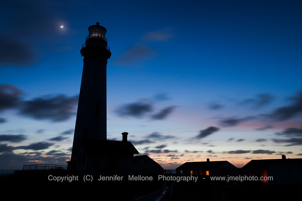 Moon Haze Blue Hour at Pigeon Point Light