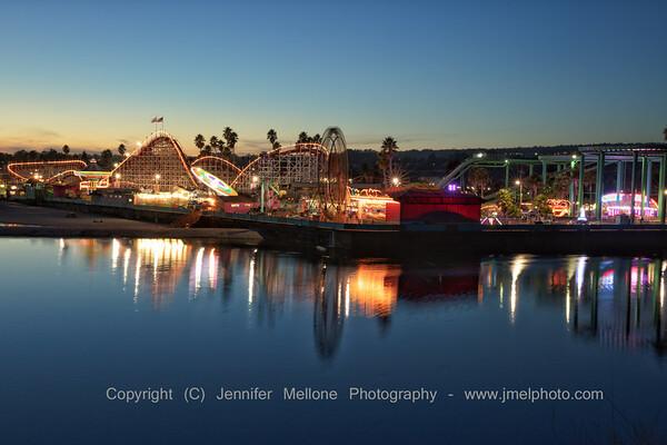 Blue Hour Reflections at Santa Cruz Beach Boardwalk