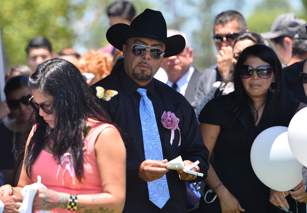. Rudy Coronado watches as one of the butterflies he released takes flight. Funeral services for three murdered Coronado children from Carson area. Rudy Coronado, father, at Green Hills Memorial Park in Rancho Palos Verdes.    (June 2, 2014 Photo by Brad Graverson/The Daily Breeze)
