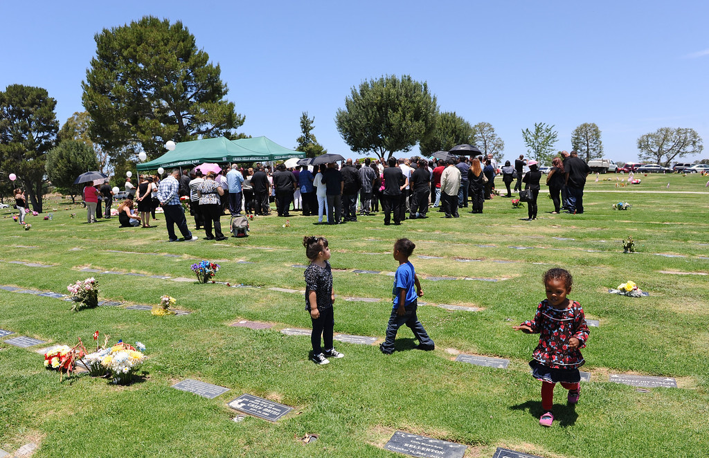 . Children frolic in the near the funeral services for three murdered Coronado children from the Carson area. Green Hills Memorial Park in Rancho Palos Verdes.    (June 2, 2014 Photo by Brad Graverson/The Daily Breeze)