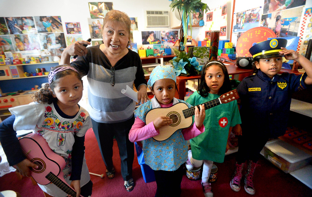 . Child Care Provider Ramona Duran leads the �Gapbusters� Child Care Bus Tour through her day care program at her home in Long Beach, CA. on Tuesday, February 18, 2014. (Photo by Sean Hiller/ Daily Breeze).