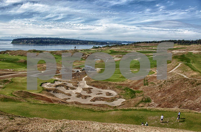 Chambers Bay Golf course with a view northwest to the Tacoma Narrows bridge and Puget Sound, Washington State