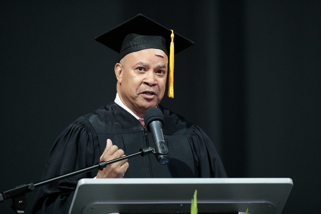 . Alumnus of the year award recipient Captain Willie Lee Daniels speaks during the Mt. San Antonio College 2017 Commencement Ceremony at the Citizens Business Bank Arena in Ontario, Calif., on Sunday June 18, 2017. (Photo by Raul Romero Jr, SCNG)