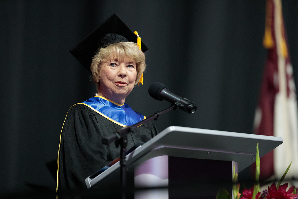 . Board of Trustees President Rosanne Bader speaks during the Mt. San Antonio College 2017 Commencement Ceremony at the Citizens Business Bank Arena in Ontario, Calif., on Sunday June 18, 2017. (Photo by Raul Romero Jr, SCNG)