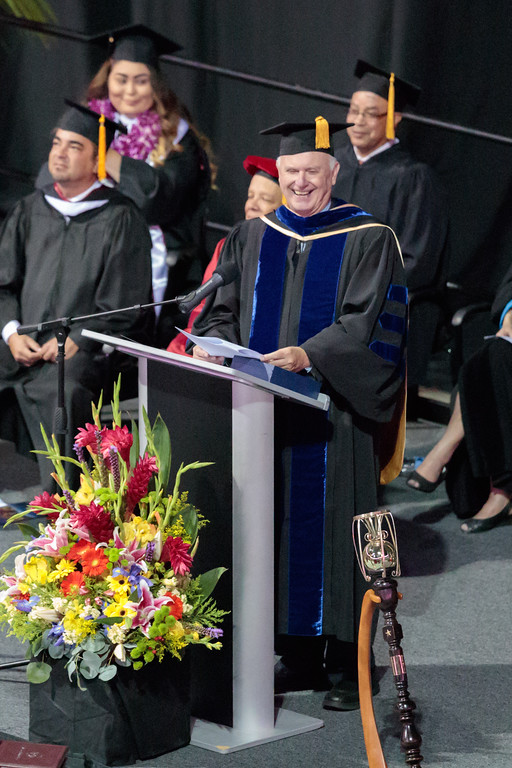 . Mt San Antonio College President and CEO Dr. William T. Scroggins speaks during the Mt. San Antonio College 2017 Commencement Ceremony at the Citizens Business Bank Arena in Ontario, Calif., on Sunday June 18, 2017. (Photo by Raul Romero Jr, SCNG)
