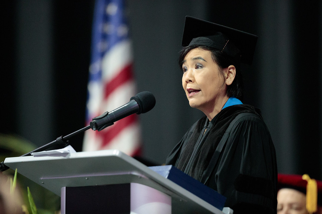 . Congresswoman Judy Chu speaks during the Mt. San Antonio College 2017 Commencement Ceremony at the Citizens Business Bank Arena in Ontario, Calif., on Sunday June 18, 2017. (Photo by Raul Romero Jr, SCNG)