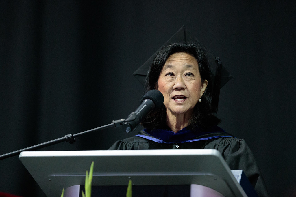 . Vice President of Student Services Dr. Audrey Yamagata-Noji speaks during the Mt. San Antonio College 2017 Commencement Ceremony at the Citizens Business Bank Arena in Ontario, Calif., on Sunday June 18, 2017. (Photo by Raul Romero Jr, SCNG)