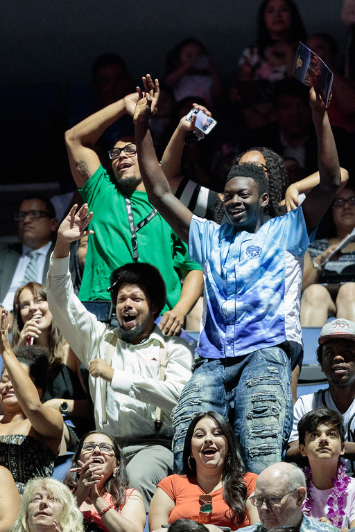 . Guest cheer on a graduate during the Mt. San Antonio College 2017 Commencement Ceremony at the Citizens Business Bank Arena in Ontario, Calif., on Sunday June 18, 2017. (Photo by Raul Romero Jr, SCNG)