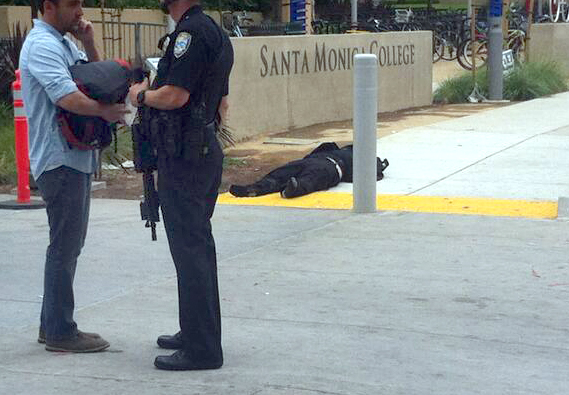 . Body, possibly of the suspect, at Santa Monice College.  Photo courtesy KCRW