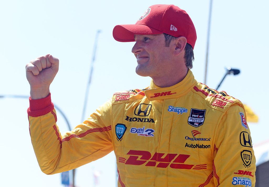 . Indycar driver Ryan Hunter-Reay celebrates after winning the pole Saturday April 12, 2014 for Sunday\'s 40th Toyota Grand Prix of Long Beach.  (Will Lester/Inland Valley Daily Bulletin)