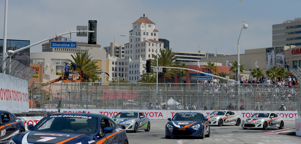 . The Pro Celebrity Race kicks off at the 40th Annual Toyota Grand Prix of Long Beach in Long Beach, CA. on Saturday April 12, 2014. (Photo by Sean Hiller/ Daily Breeze).