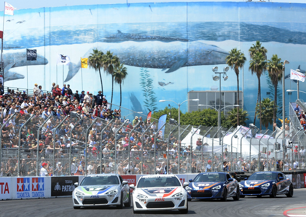 . Celebrity Brett Daven and professional driver Al Unser Jr. won their respective categories in the 38th annual Pro/Celebrity race at the 40th Toyota Grand Prix of Long Beach Saturday April 12, 2014.   (Will Lester/Inland Valley Daily Bulletin)