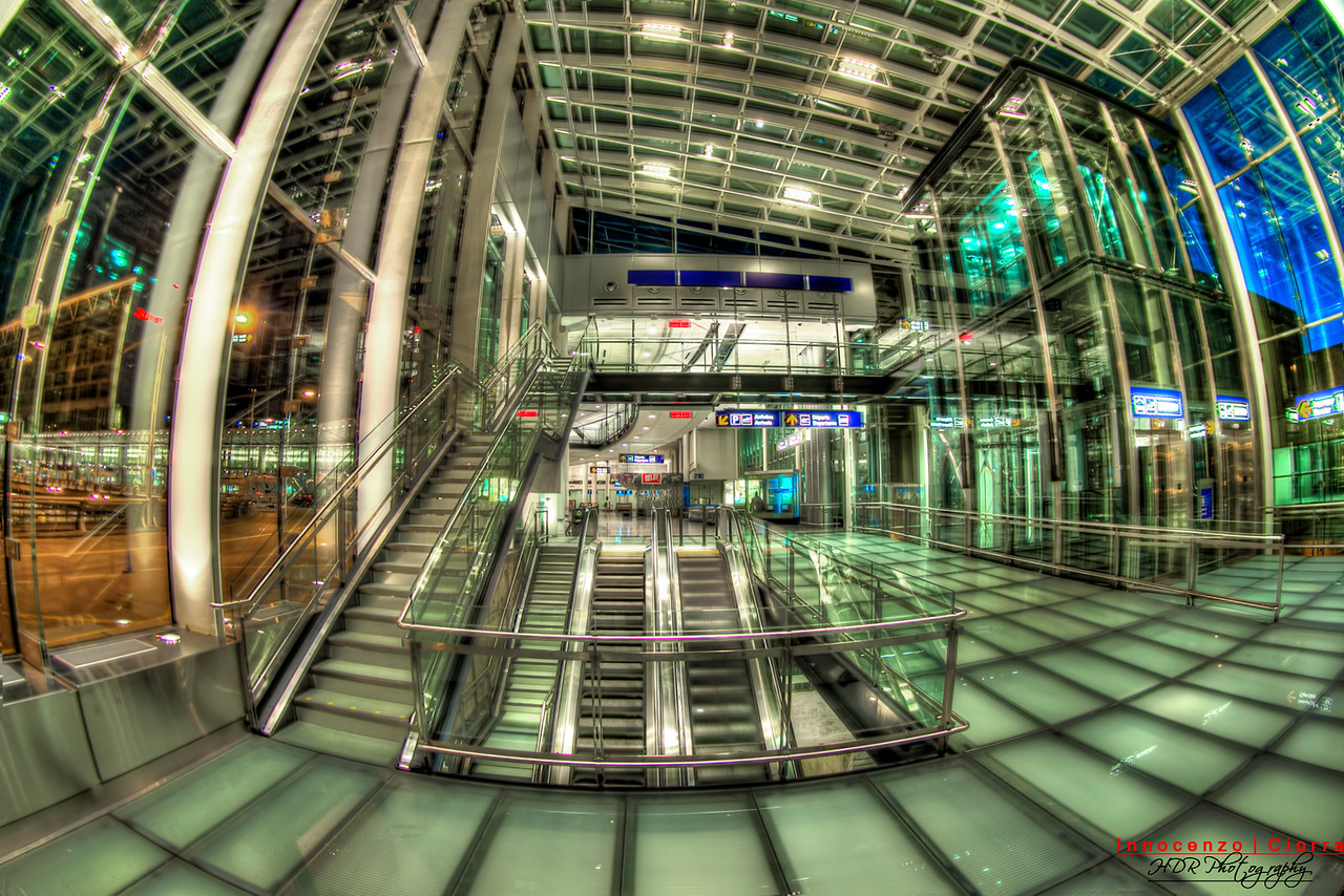 I was surprised to see such an empty airport on the weekend , I was in town for the Grand Prix of Montreal , This image is the Airport at Montreal that has access to the Marriott Hotel . I was amazed at how much glass so its HDR time .<br /> <br /> This was shot with the Canon 5D Mark III and Canon Fish Eye Lens , Shot handheld with AEB -3 to +3