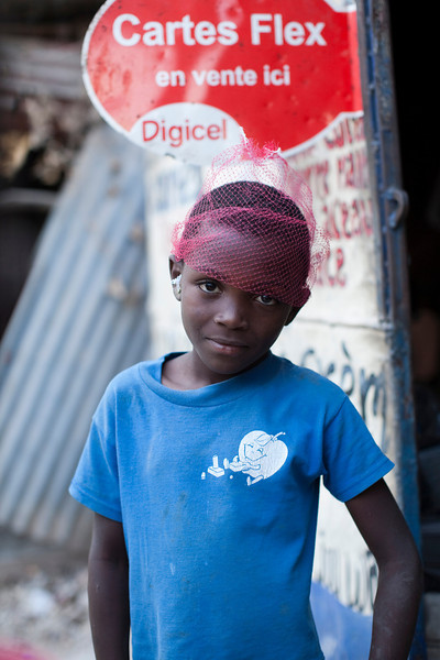 A young girl in the hills above Petionville, Port au Prince, Haiti.
