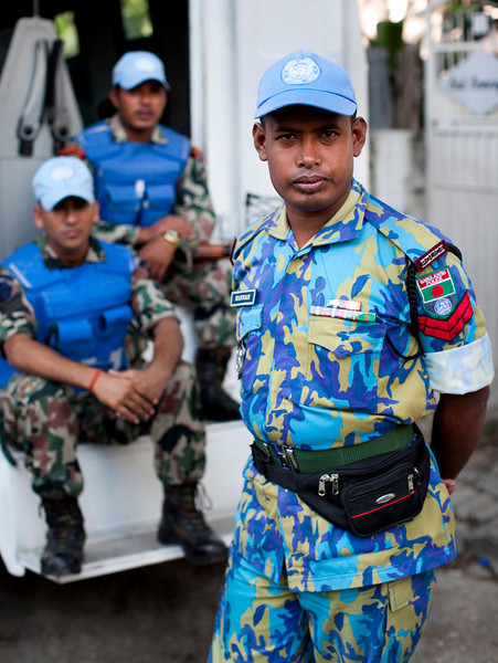 United Nations soldiers from Bangladesh and India stand guard near the KEP, the Haitian Ministry of Elections, in the Petionville neighborhood of Port au Prince, Haiti.