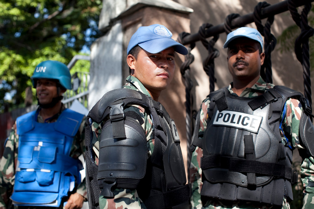 United Nations soldiers from India stand guard near the KEP, the Haitian Ministry of Elections, in the Petionville neighborhood of Port au Prince, Haiti.