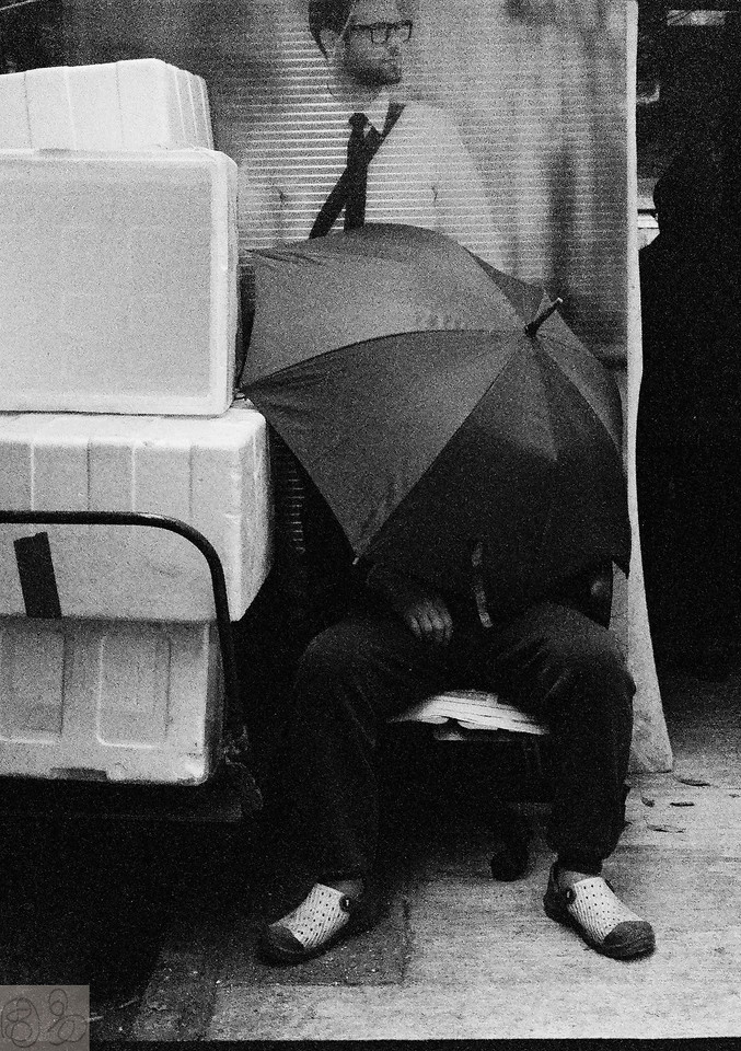 Sheltered under umbrella