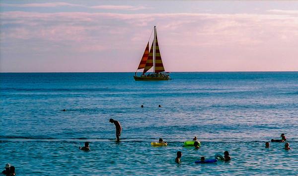 sailboat off beach