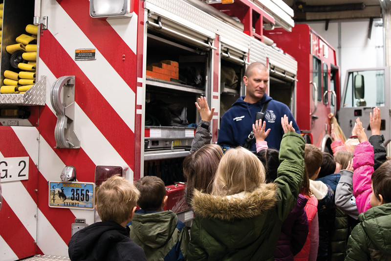 Matthew Gaston | The Sheridan Press<br>Henry A. Coffeen Elementary kindergardners were eager to answer questions for firefighter Larry Grooms, Tuesday, Oct. 9, 2018.