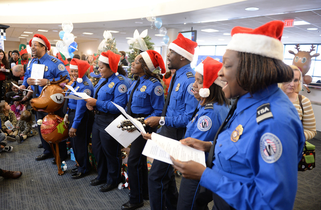 . Holiday in the Hangar at Delta Airlines at LAX. About 100 children from Children\'s Hospital, LA got to ride on a plane to the North Pole where holiday games and fun plus Santa awaited. (Dec 11, 2013. Photo by Brad Graverson/The Daily Breeze)