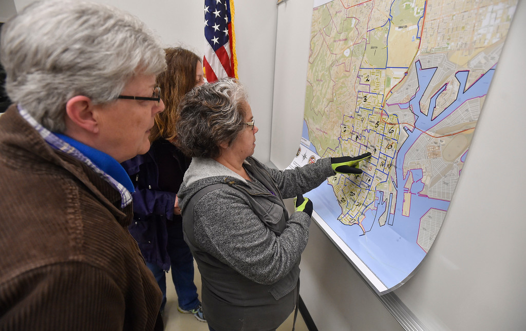. Volunteers look over a map of San Pedro before heading out to count homeless people on Wednesday, January 25, 2017. Volunteers Wednesday fanned out across the city of Los Angeles to try to get an accurate homeless count in order to provide better services for the needy. (Photo by Scott Varley, Daily Breeze/SCNG)