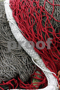 Salmon fishing nets and floats.