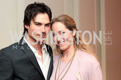 Ian Somerhalder, Nancy Bagley. IMPACT Arts+Film Fundís dinner with Ian Somerhalder. Photo by Alfredo Flores. Blue Duck Tavern. April 27, 2011