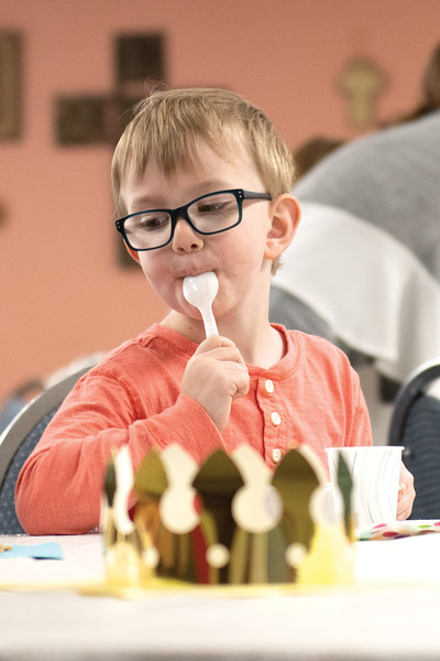 Matthew Gaston | The Sheridan Press<br>Five-year-old Colton Conraads cleans his spoon after a bite of ice cream at Noah's Arc Preshool Wednesday, May 22, 2019.
