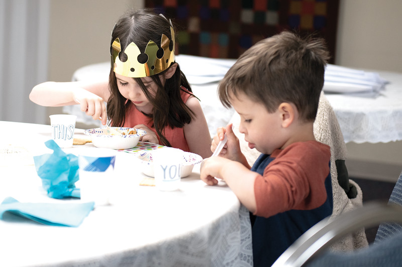 Matthew Gaston | The Sheridan Press<br>Nora and Benjamin Scott enjoy some ice cream together at Noah's Arc Preschool Wednesday, May 22, 2019.