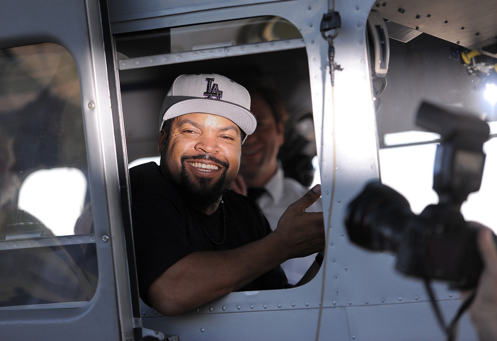 . Actor/rapper Ice Cube visited the Goodyear Airship Operations airfield in Carson Monday to add support to a charity effort for A Place Called Home, a local non-profit group that helps kids stay in school and prosper. A $25,000 check was presented to the group. Ice Cube\'s name was placed in lights on the blimp, recalling lyrics to one of his songs.