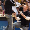 Caleb Ring asks former CU player Jackie McFarland for her hand in marriage during the CU-Nebraska women's game on Saturday. Jackie was blindfolded and thought she was trying to win pizza for a year when Caleb grabbed her.<br /> Cliff Grassmick / January 30, 2010