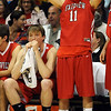 Sean Skuba, left, and Ryan Gallup of Fairview feel the pain of the overtime loss to Regis Jesuit in the 5A Colorado State Championship game on March 13, 2010.<br /> <br /> Cliff Grassmick / March 13, 2010