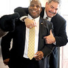 "CU assistant coach, Brian Cabral has some fun with new assistant, Eric Bieniemy.<br /> For more photos of the press conference, go to  <a href=""http://www.dailycamera.com"">http://www.dailycamera.com</a>.<br /> Cliff Grassmick / December 6, 2010"