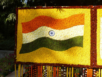Indian and Japanese flag, in honor of the japanese emperor 's visit