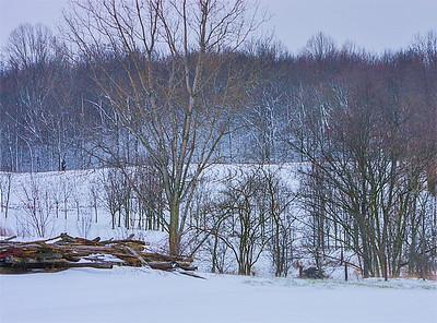 winter fencepost stack