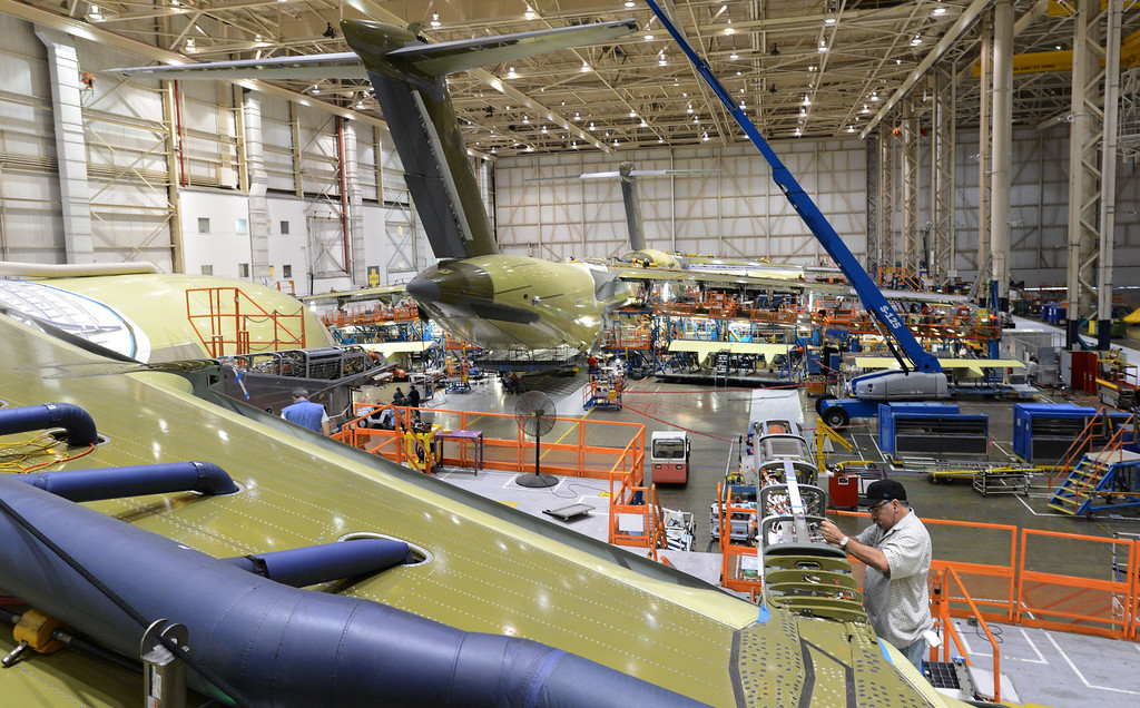 . Long Beach, Calif., -- 08-13-13-   Boeing C-17 Globemaster III\' s are assembled at the C-17 plant in Long Beach Calif.    Stephen Carr/  Los Angeles Newspaper Group