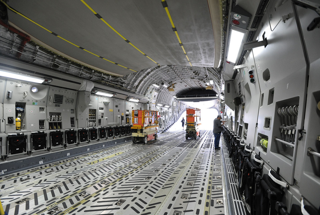 . Long Beach, Calif., -- 08-13-13-   Inside a USAF Boeing C-17 Globemaster III as it\'s assembled at the C-17 plant in Long Beach Calif.    Stephen Carr/  Los Angeles Newspaper Group