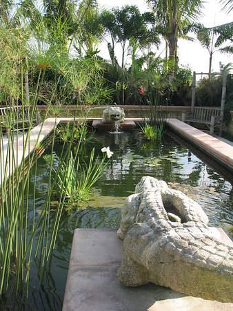 For the entrance to The International Polo Club, we complemented our architectural and landscape design by creating these two handcarved granite crocodiles (as the club is near the Florida Everglades). They face each other with water running down their back, into a hole at the back of their heads, and then out the mouth into the pond.
