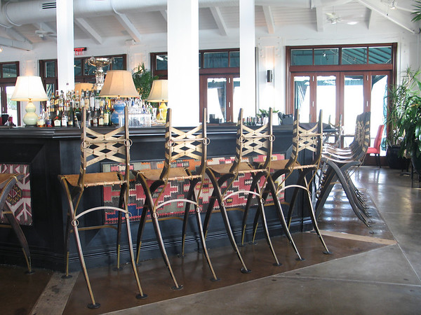 Bar stools made from horse harness's at the Mallet Grill's Restaurant.