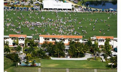 The International Polo Club Palm Beach seen from above during half time when the audience is invited out for complimentary champagne.