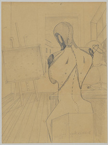 Giorgio De Chirico,The Poet and the Philosopher, 1913 Graphite pencil on paper. 12 3/4 x 9 1/2 inches (324 x 241 mm)  Thaw Collection. The Pierpont Morgan Library, New York. Photography, Graham S. Haber, 2012.